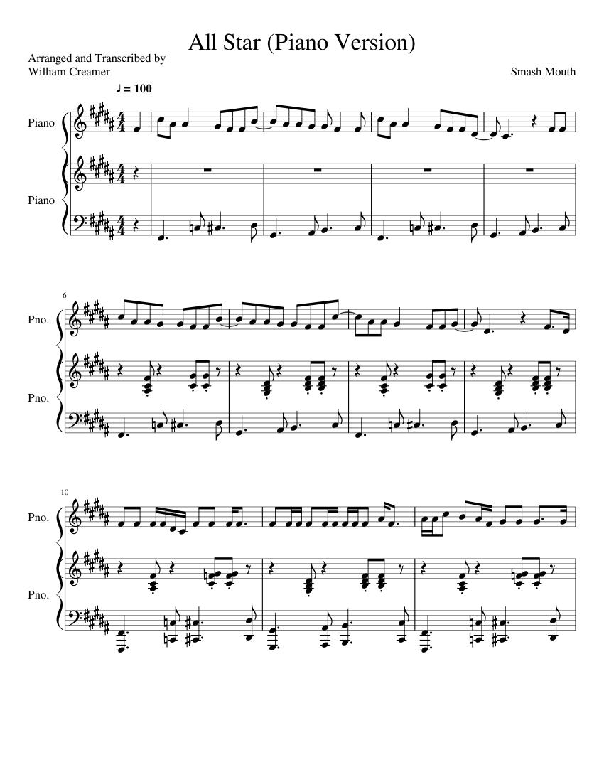 all star smash mouth piano sheet music free