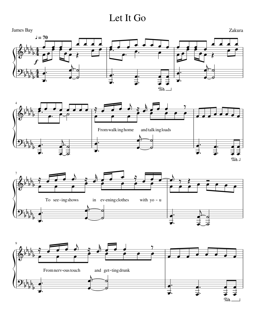 james bay - let it go sheet music for piano (solo)   musescore.com  musescore.com