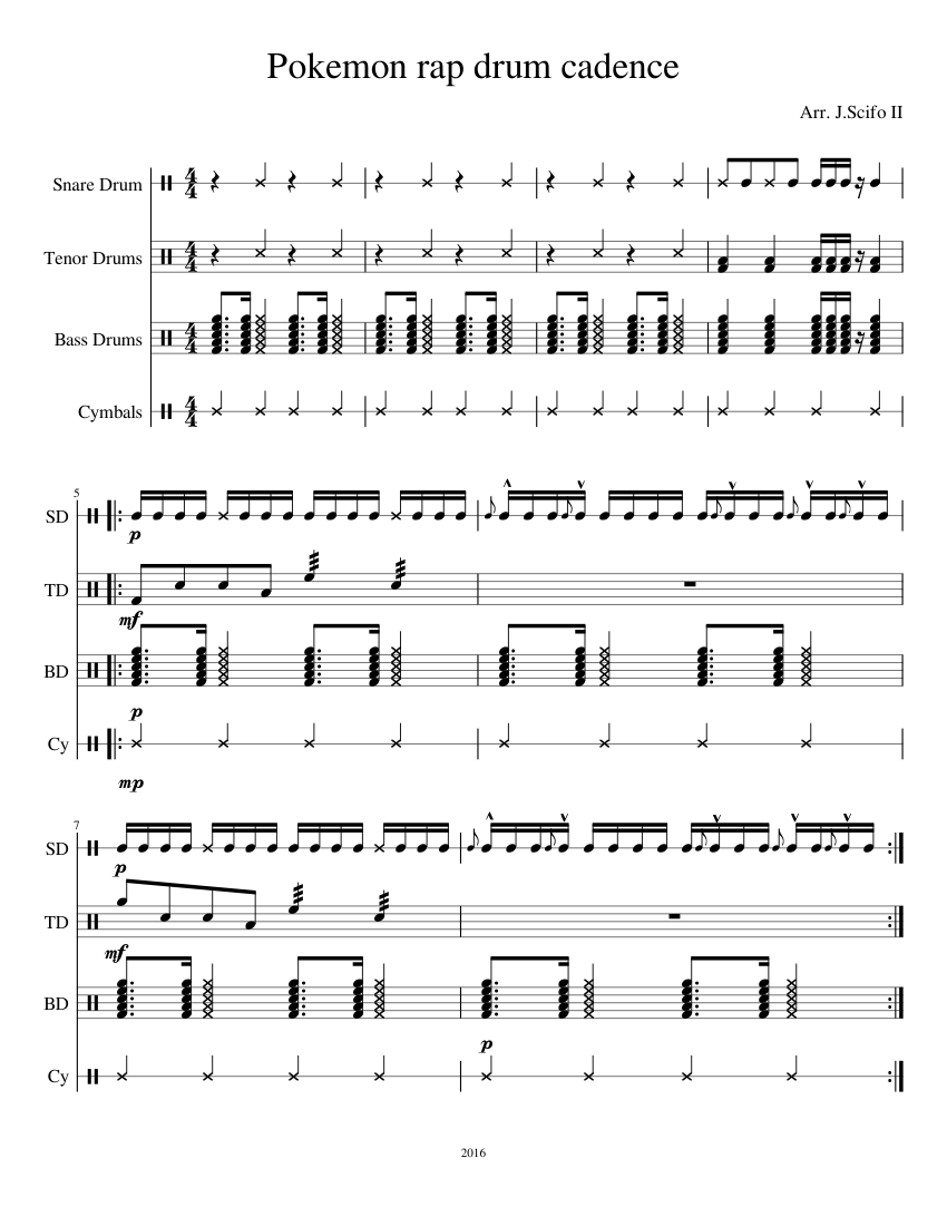 pokemon rap drum cadence sheet music for percussion download free in