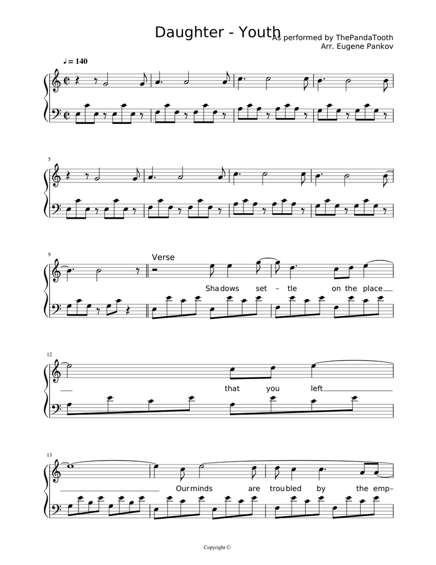 Daughter   Youth Sheet music for Piano Solo   Musescore.com