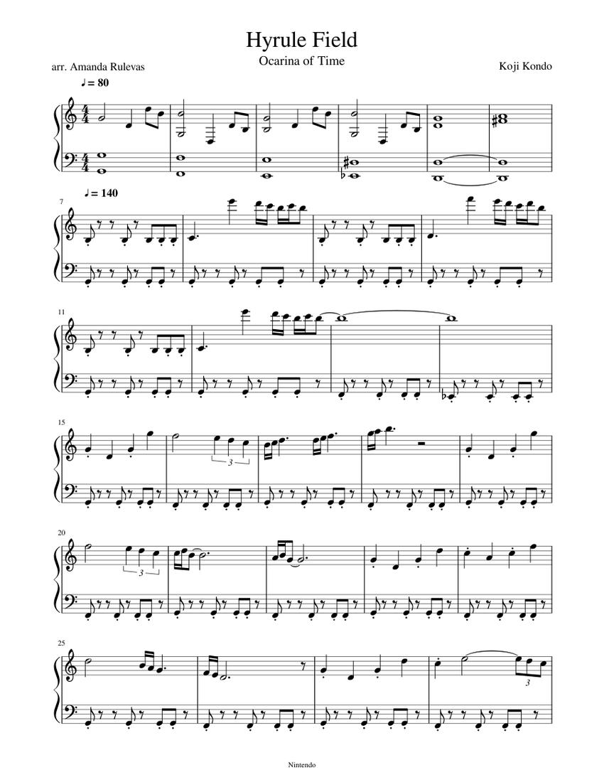 Hyrule Field Sheet Music For Piano Solo Musescore Com
