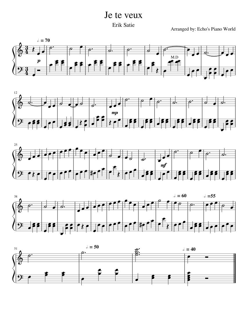 Je te veux von E. Satie - Noten auf MusicaNeo