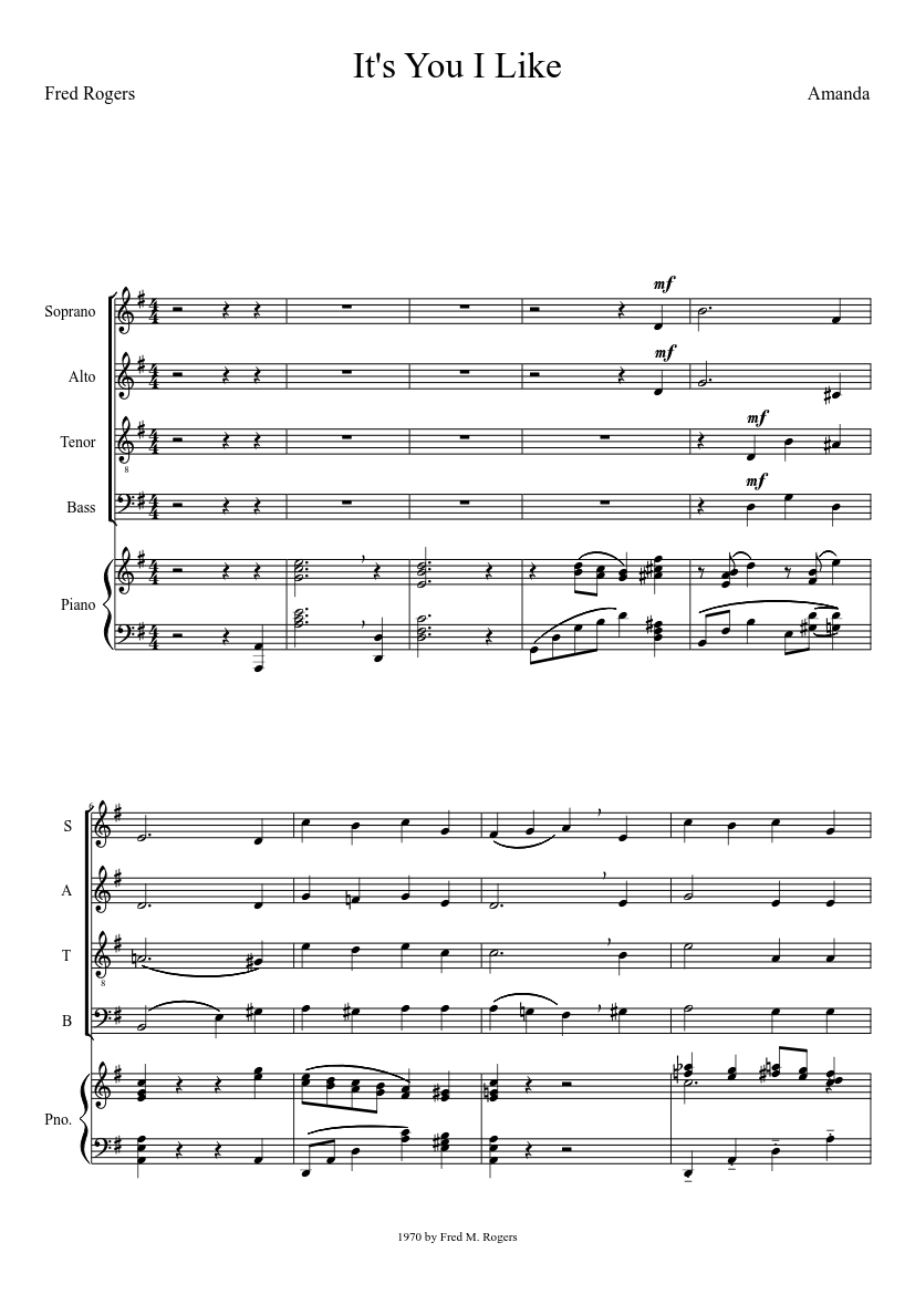 It S You I Like Fred Rogers Satb W Piano Sheet Music For Clarinet In B Flat Mixed Duet Musescore Com