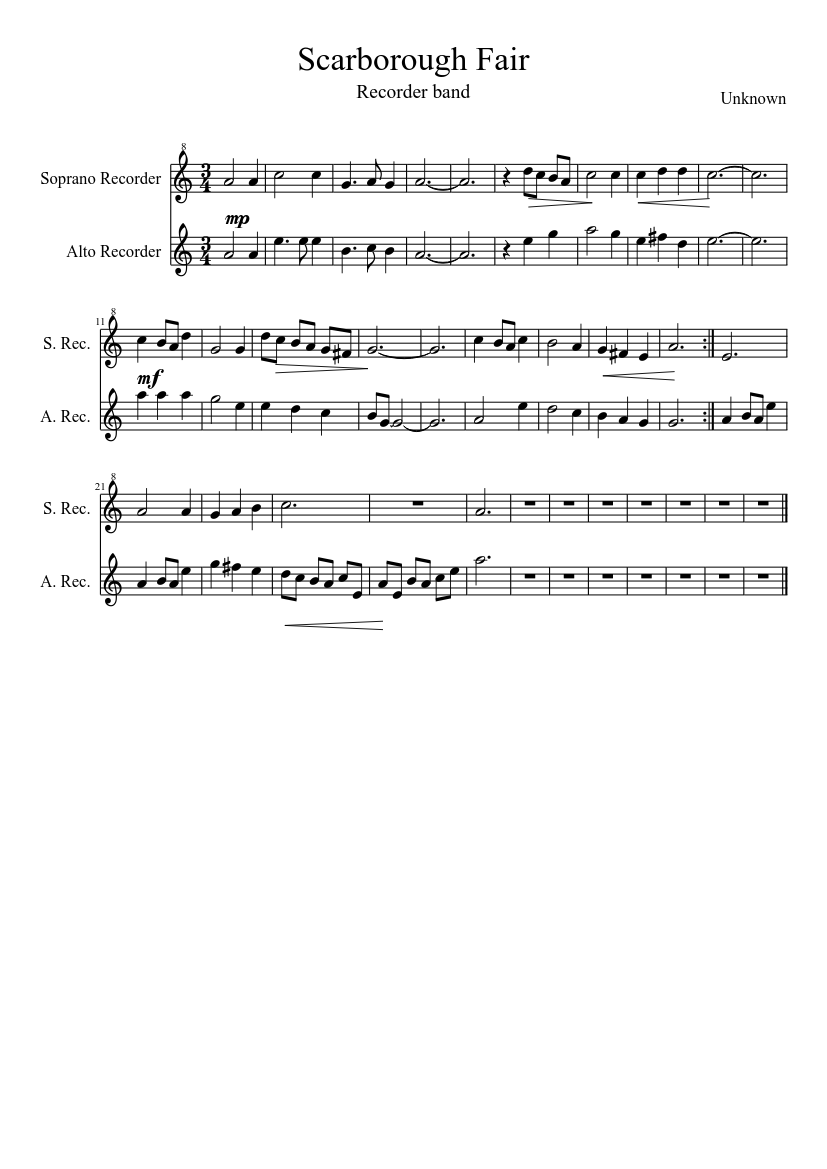 free sheet music for descant recorder