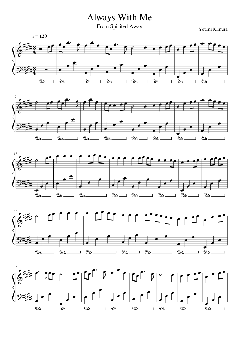 Always With Me sheet music composed by Youmi Kimura – 1 of 2 pages