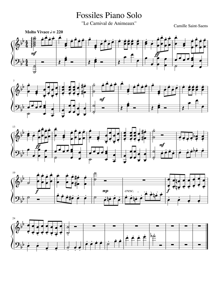 the fossils   piano solo arr. (unfinished) sheet music for piano (solo)    musescore.com  musescore.com