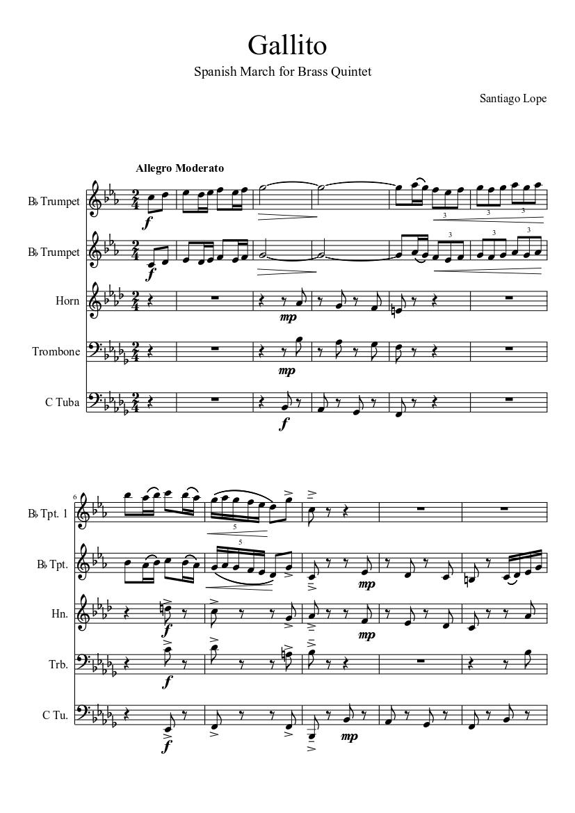Gallito Brass Quintet sheet music download free in PDF or MIDI