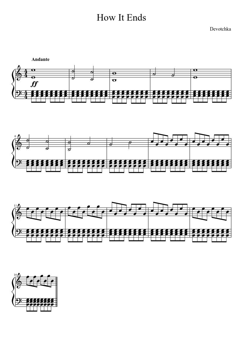 how it ends sheet music for piano (solo)   musescore.com  musescore.com