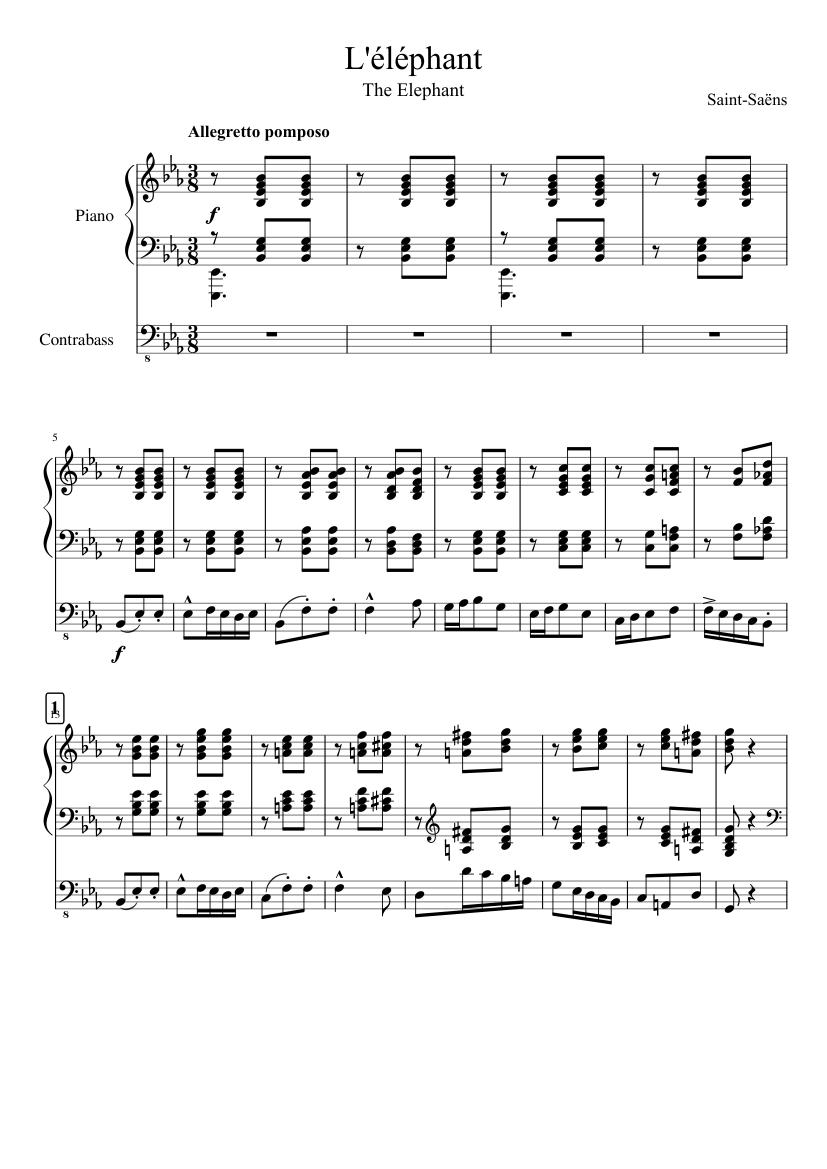L'éléphant (The Elephant) sheet music for Piano, Contrabass download