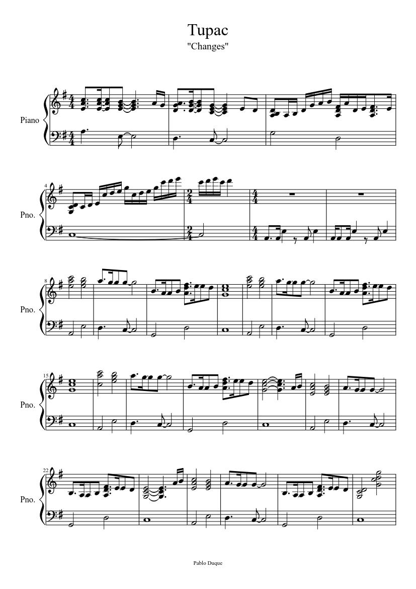 Music Sheet Changes Tupac Piano Sheet Music Free