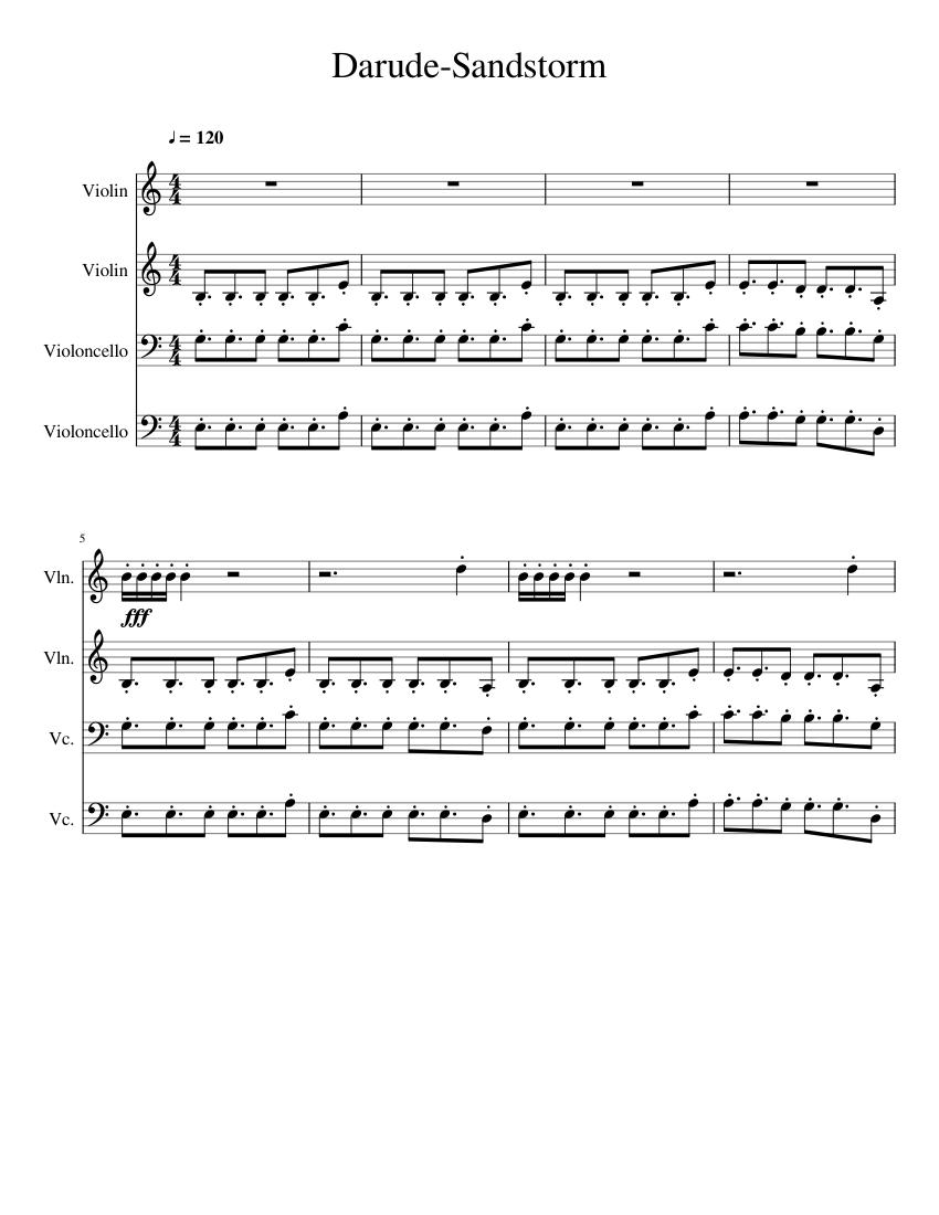 Darude Sandstorm Sheet Music For Violin Cello Download Free In Pdf