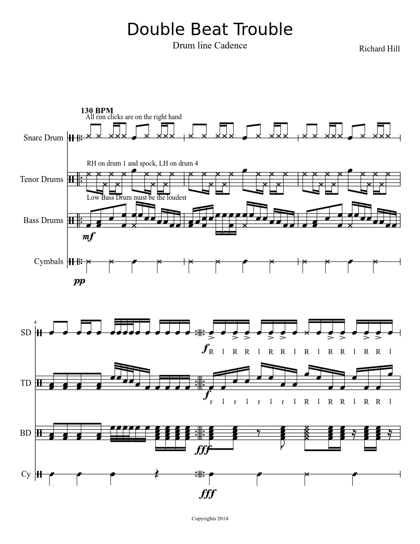 Double Beat Trouble (drumline cadence) sheet music download free in