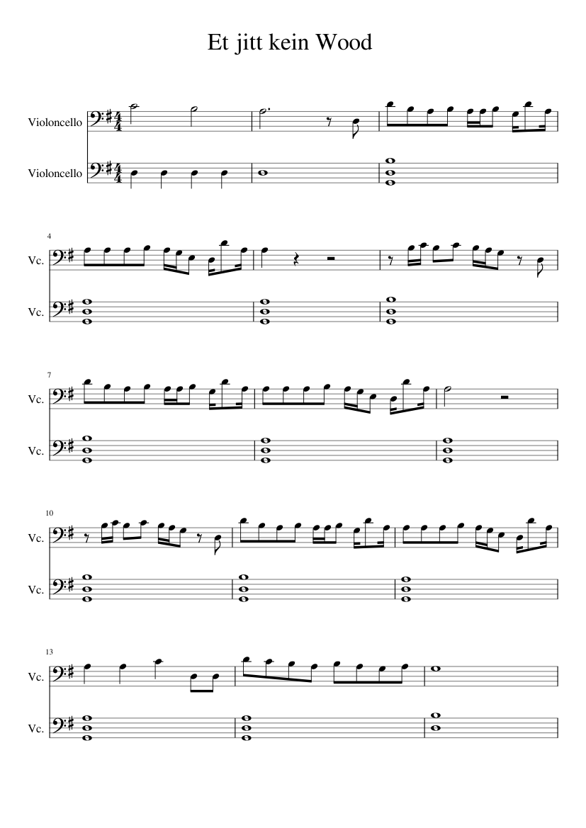 Et jitt kein Wood sheet music for Cello download free in