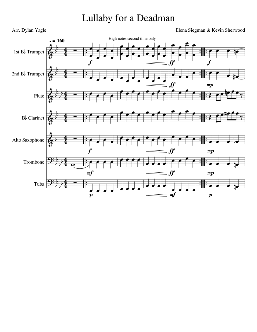 Lullaby For A Deadman Marching Band Sheet Music For Trumpet In B Flat Trombone Flute Clarinet In B Flat More Instruments Mixed Ensemble Musescore Com