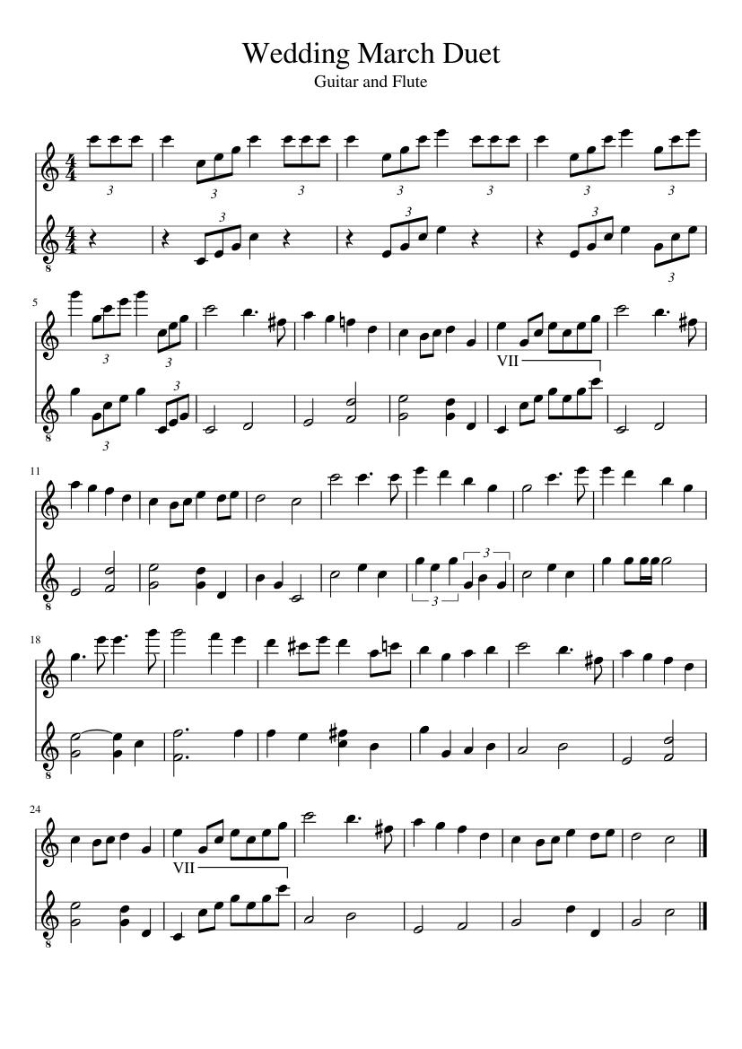 Wedding March Guitar And Flute Duet Sheet Music For Flute Guitar
