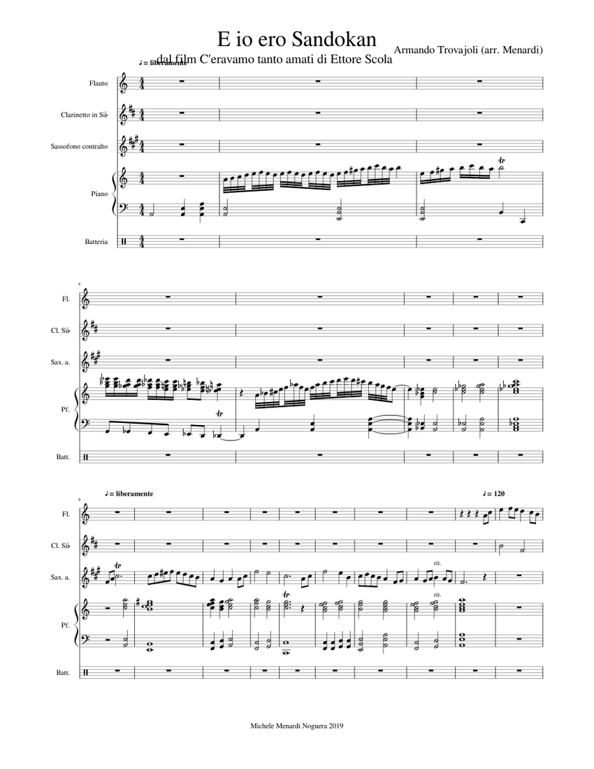 E Io Ero Sandokan Sheet Music For Piano Flute Drum Group Clarinet In B Flat More Instruments Mixed Quintet Musescore Com