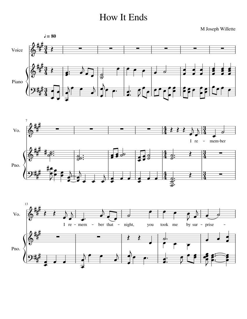 how it ends updated sheet music for piano, vocals (piano-voice)   download  and print in pdf or midi free sheet music with lyrics   musescore.com  musescore.com