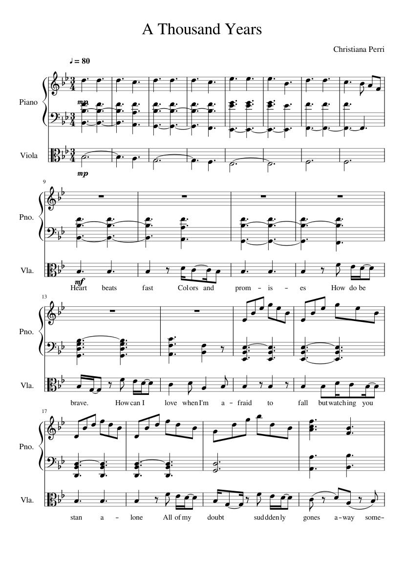 A thousand years christina perri melodica sheet music – guitar chords.