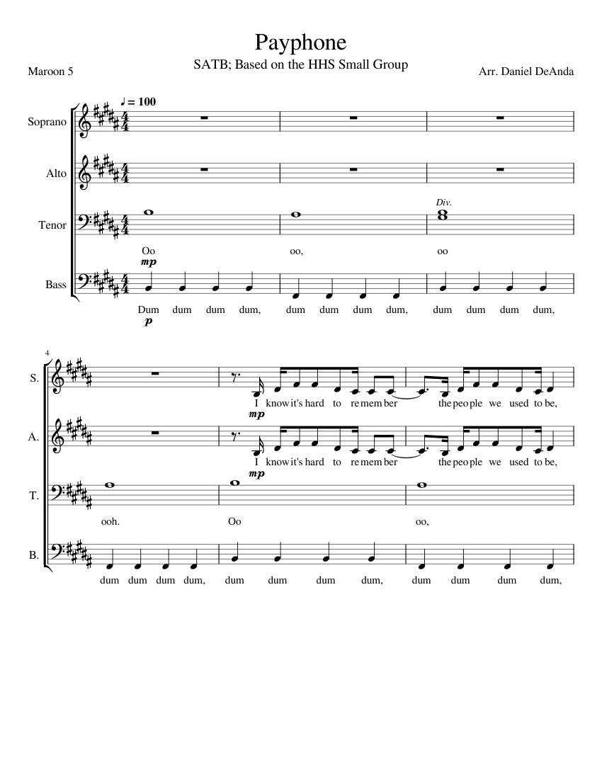 "Maroon 5 feat. Wiz khalifa ""payphone"" sheet music in b major."