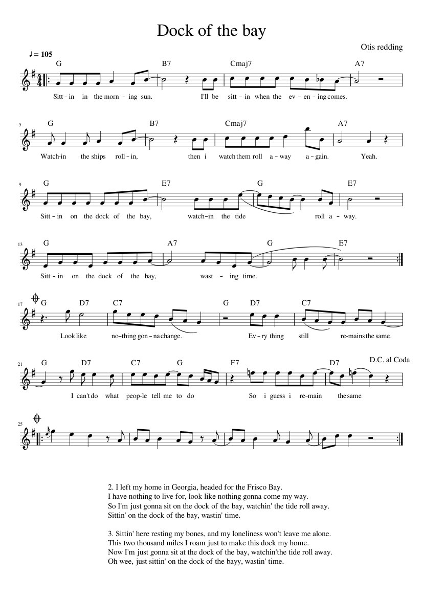 Dock of the bay   Otis Redding Sheet music for Piano Solo ...