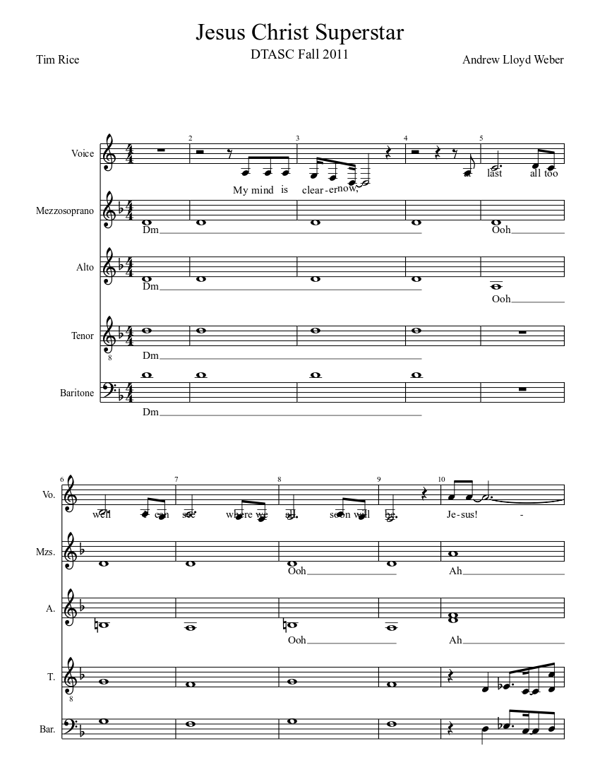 Jesus christ superstar score sheet music for piano, voice download.