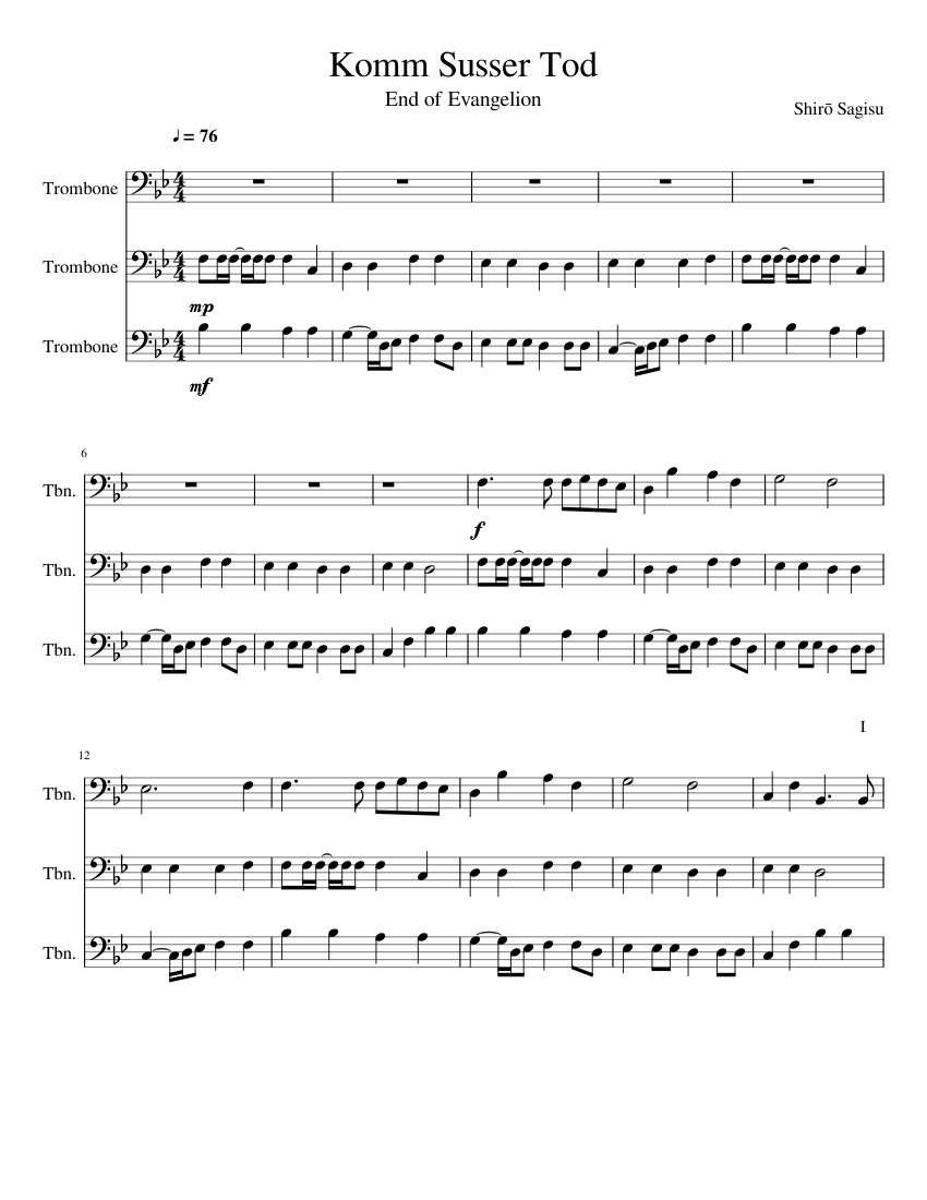 Komm, Süsser Tod Sheet music for Trombone (Mixed Trio) | Musescore.com