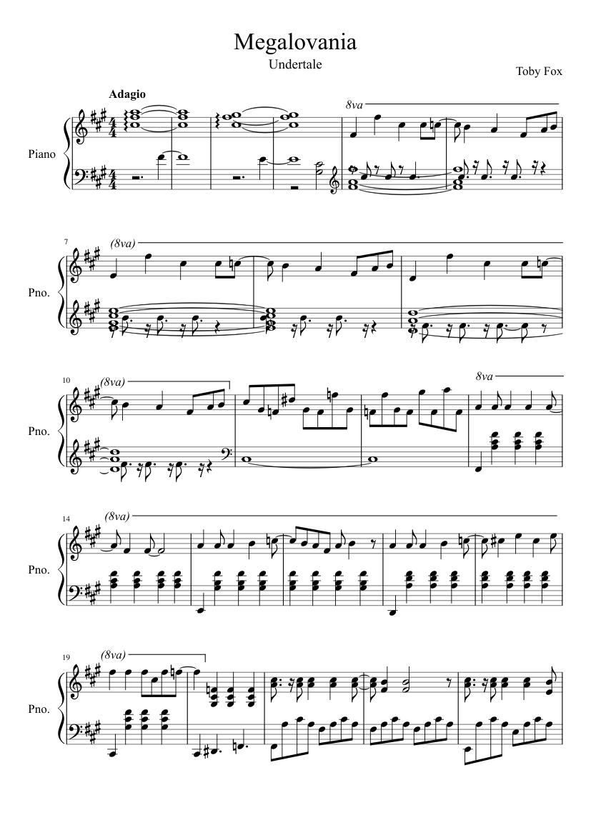Megalovania Undertale Sad Piano Solo Sheet Music For Piano