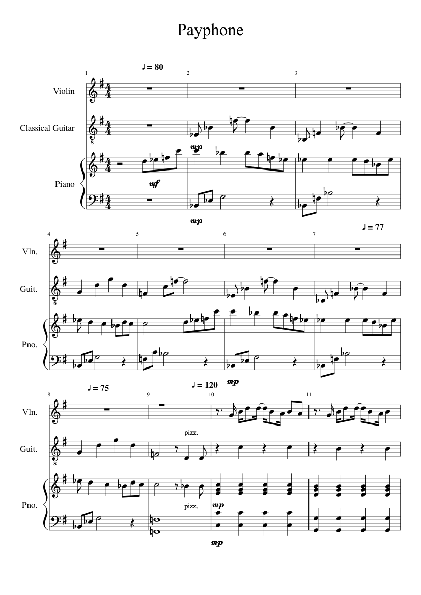 Payphone sheet music for violin, piano, guitar download free in.