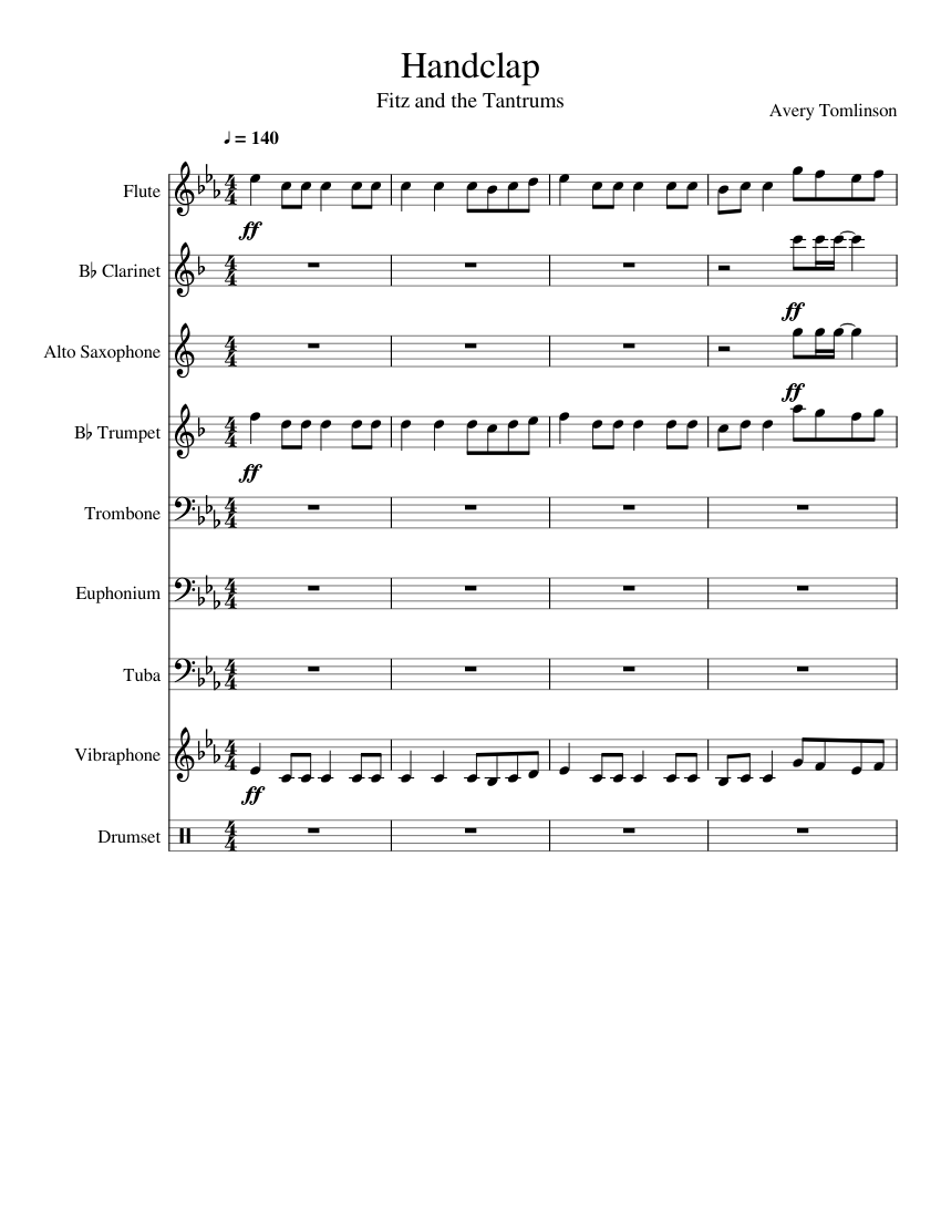 Handclap Fitz And The Tantrums Band Arrangement Sheet Music For Trumpet In B Flat Trombone Flute Drum Group More Instruments Mixed Ensemble Musescore Com Clap said i can make your hands clap. handclap fitz and the tantrums band