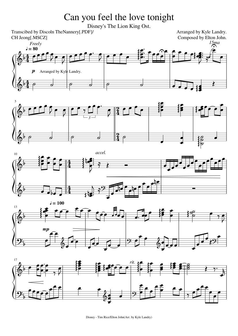Download can you feel the love tonight (movie version) sheet music.