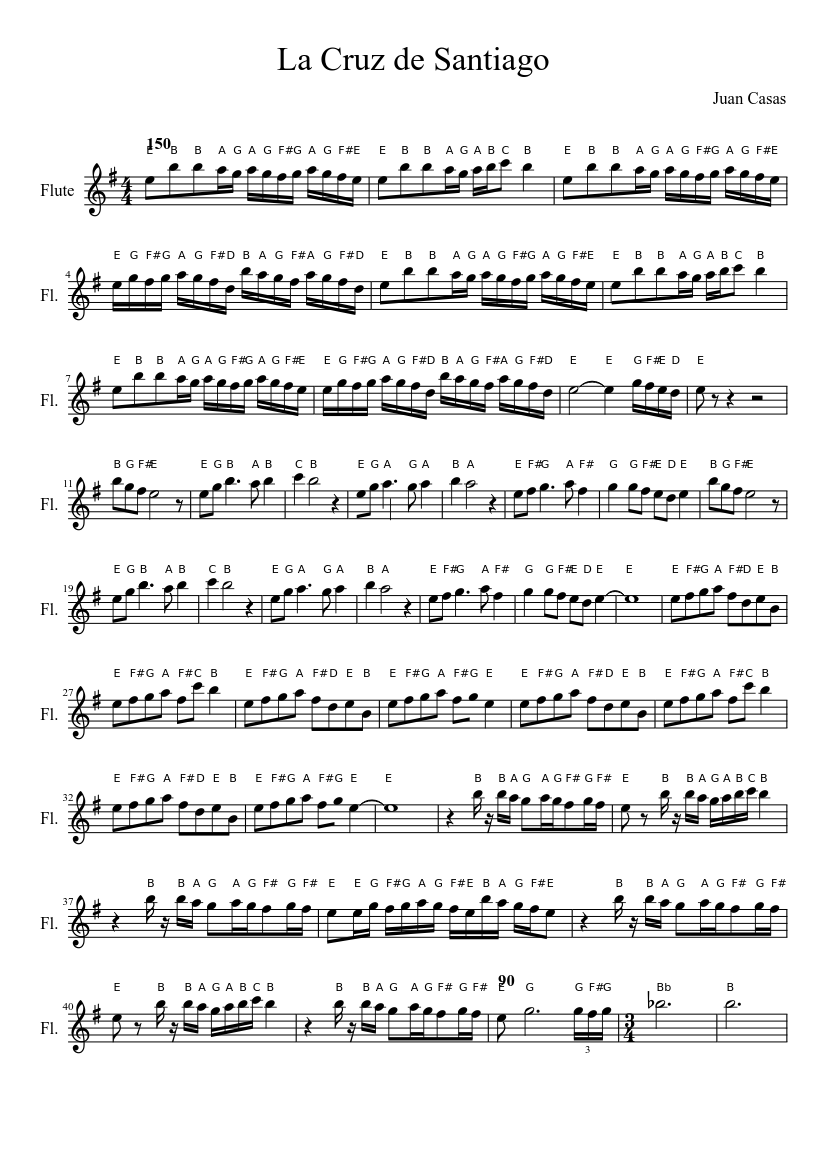 La Cruz de Santiago sheet music composed by Juan Casas – 1 of 2 pages