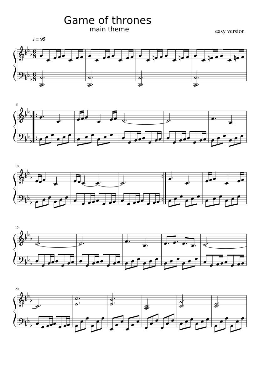 Game Of Thrones Titelmusik Klaviernoten game of thrones main theme easy version sheet music for
