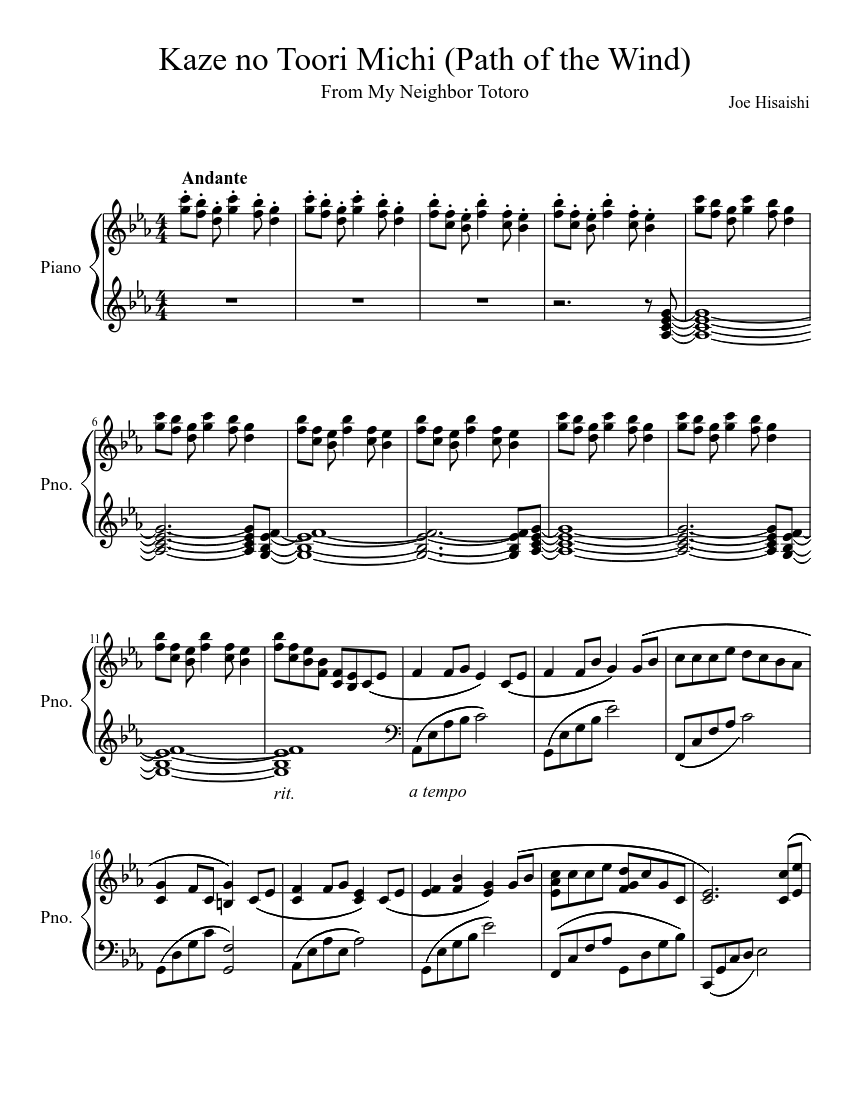 Kaze no Toori Michi (Path of the Wind) sheet music composed by Joe Hisaishi – 1 of 3 pages