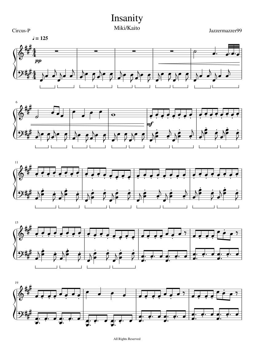 insanity piano adaptation [miki/kaito, circus-p] sheet music for