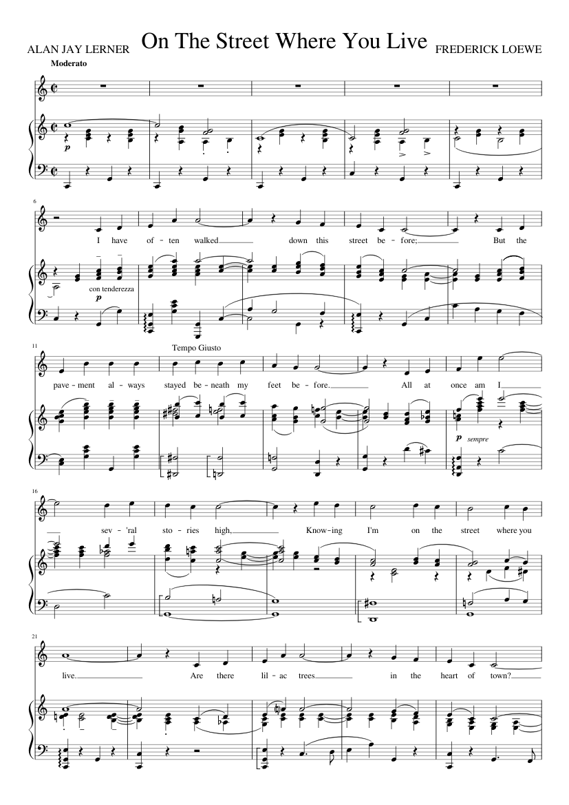 On The Street Where You Live C Sheet Music For Piano Vocals Piano Voice Musescore Com Ilovepdf is an online service to work with pdf files completely free and easy to use. on the street where you live c sheet