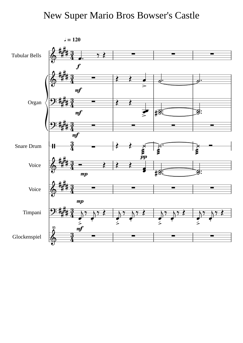 New Super Mario Bros Bowser S Castle Sheet Music For Percussion