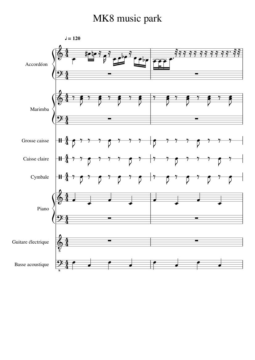 Water park mario kart 8 sheet music for piano, piccolo, trumpet.