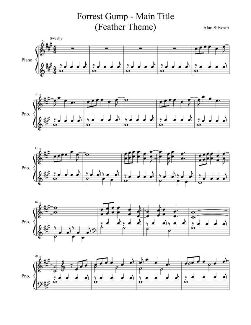 forest gump - main title (feather theme) sheet music for piano (solo) |  musescore.com  musescore.com