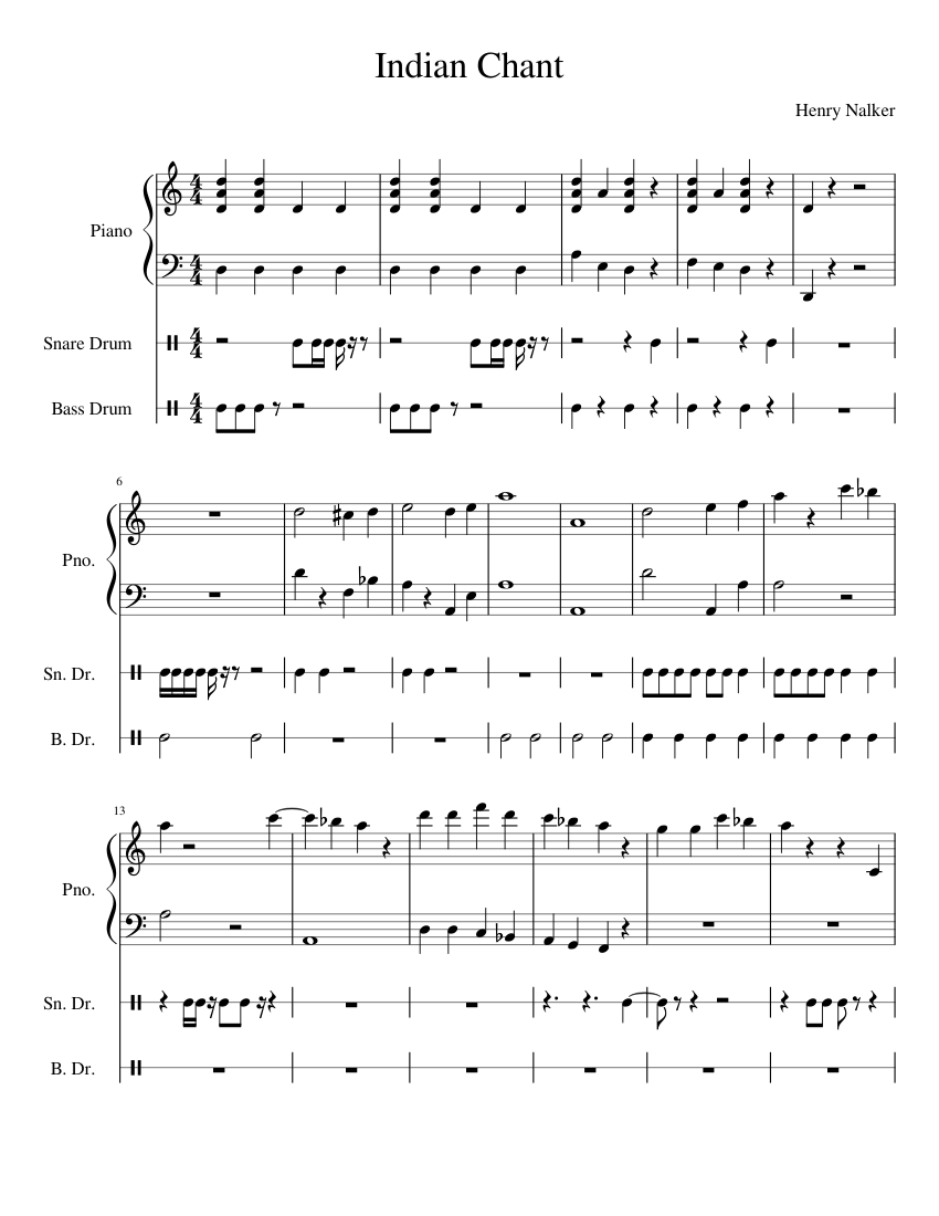 Indian chant sheet music for piano, percussion download free in.
