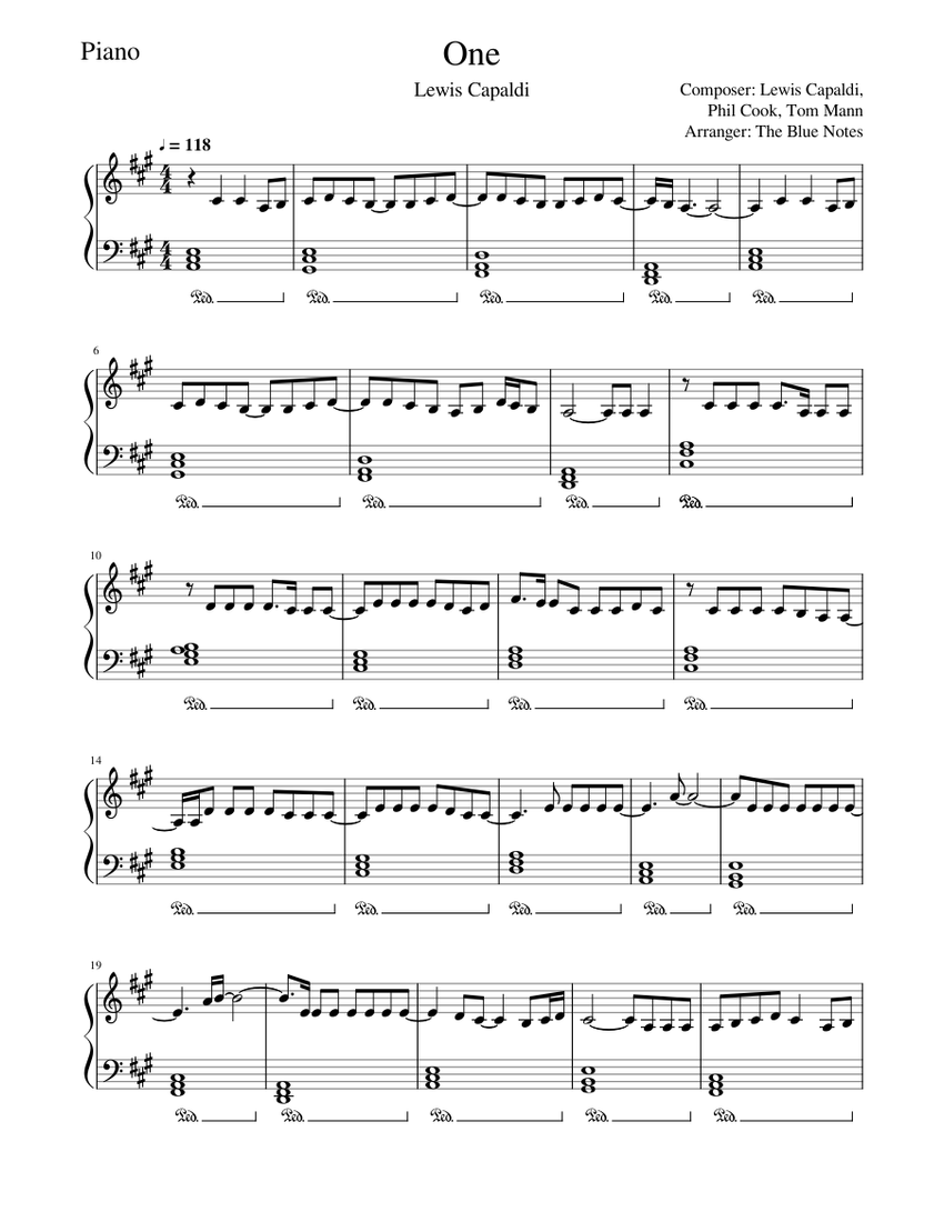 One   Lewis Capaldi   Piano Tutorial Sheet music for Piano Solo ...