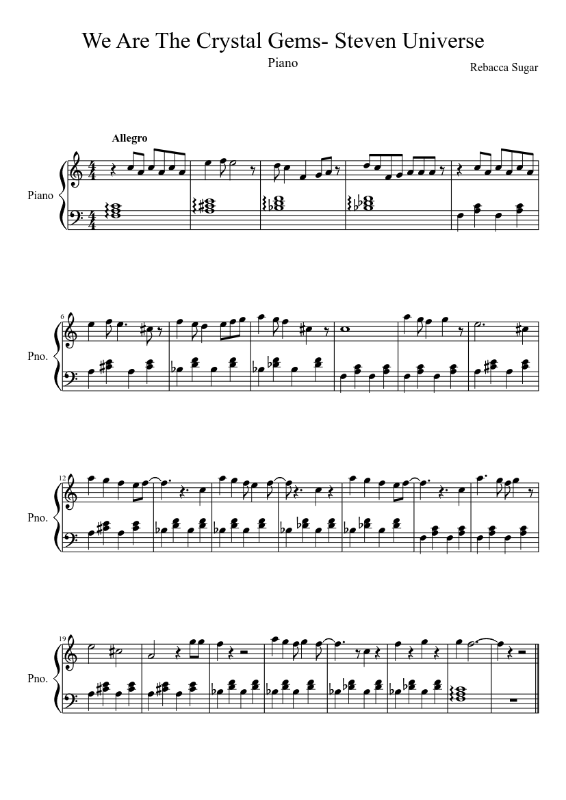 We Are The Crystal Gems Steven Universe Sheet Music For
