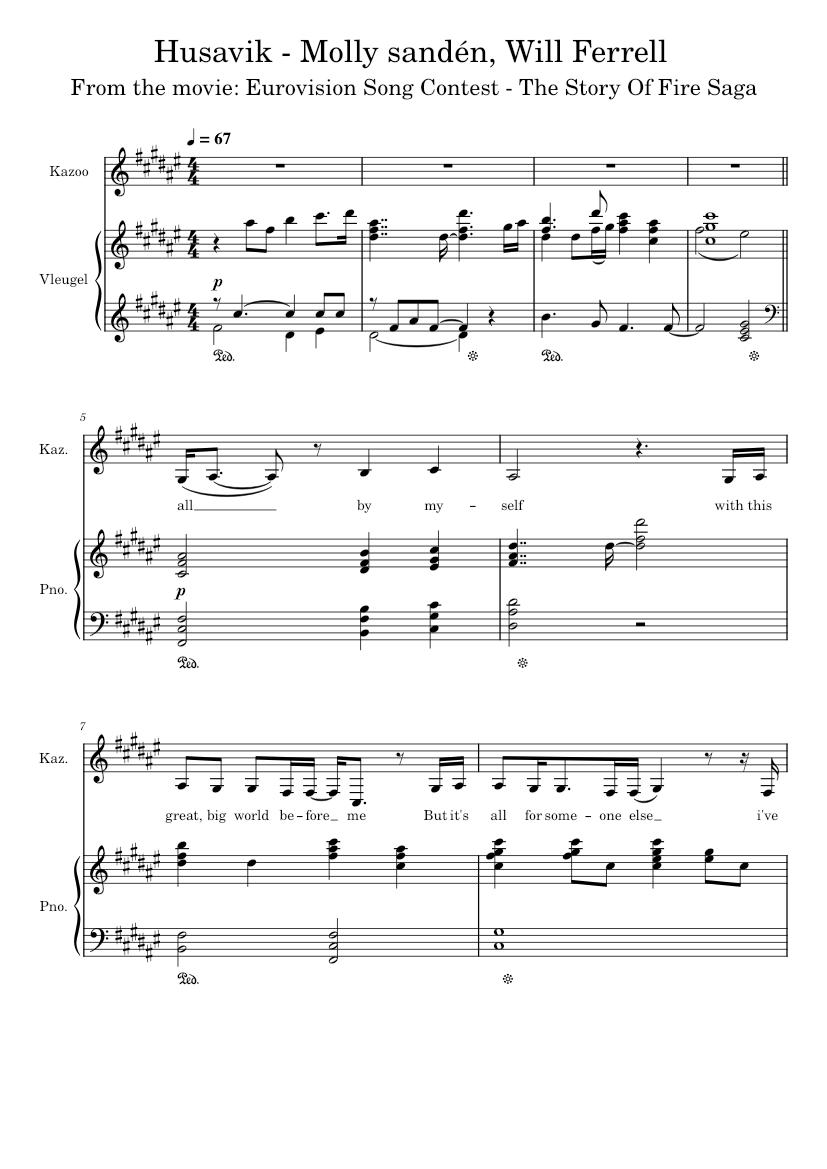 Husavik Eurovision piano sheets