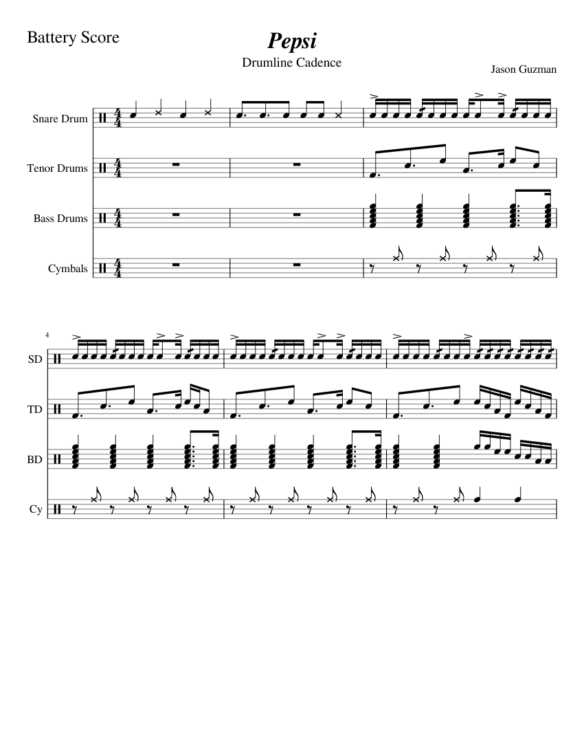 pepsi drumline cadence sheet music for percussion download free in
