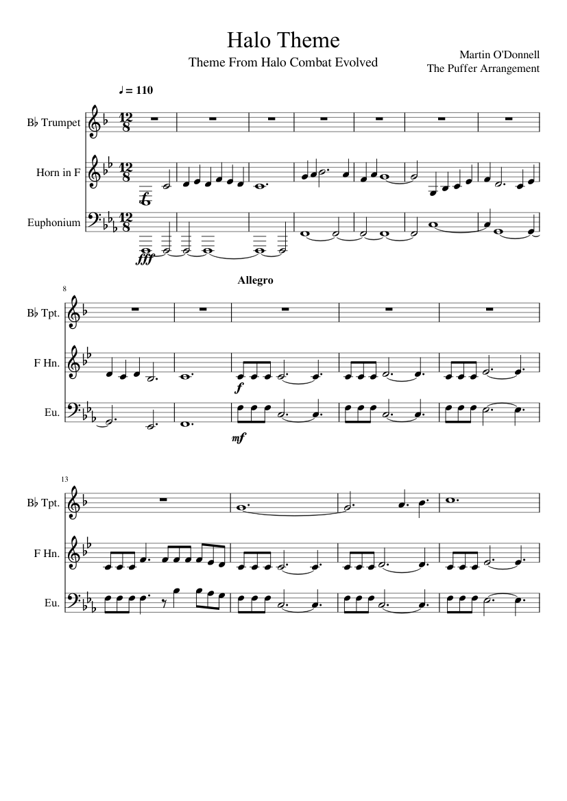 Halo Theme For Brass Sheet Music For Trumpet French Horn Tuba