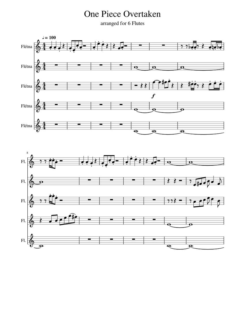 One Piece Overtaken Sheet music for Flute (Mixed Quintet ...