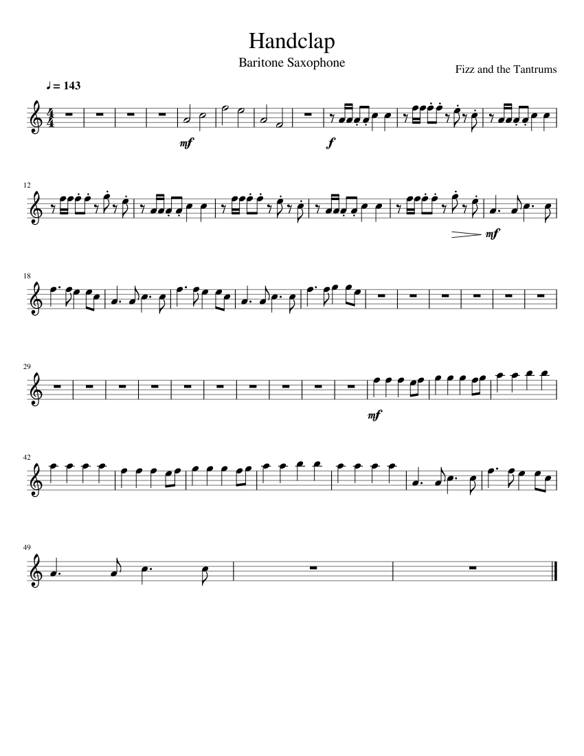 Handclap Bari Saxophone Sheet Music For Saxophone Baritone Solo Musescore Com Learn how to play you are my sunshine (hand clap) on the piano. handclap bari saxophone sheet music