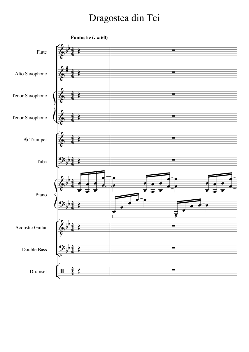 Dragostea din tei (numa numa) sheet music for piano download free.