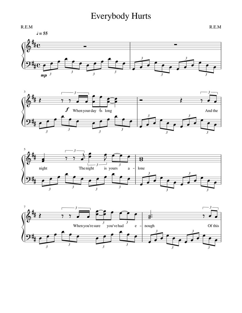 Everybody Hurts Sheet music for Piano Solo   Musescore.com