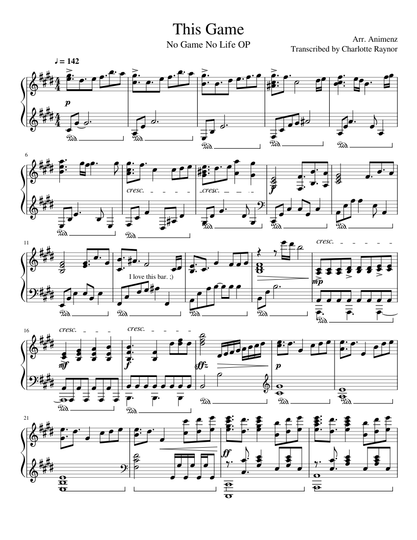 Game Of Love Sheets this game (no game no life op) sheet music for piano