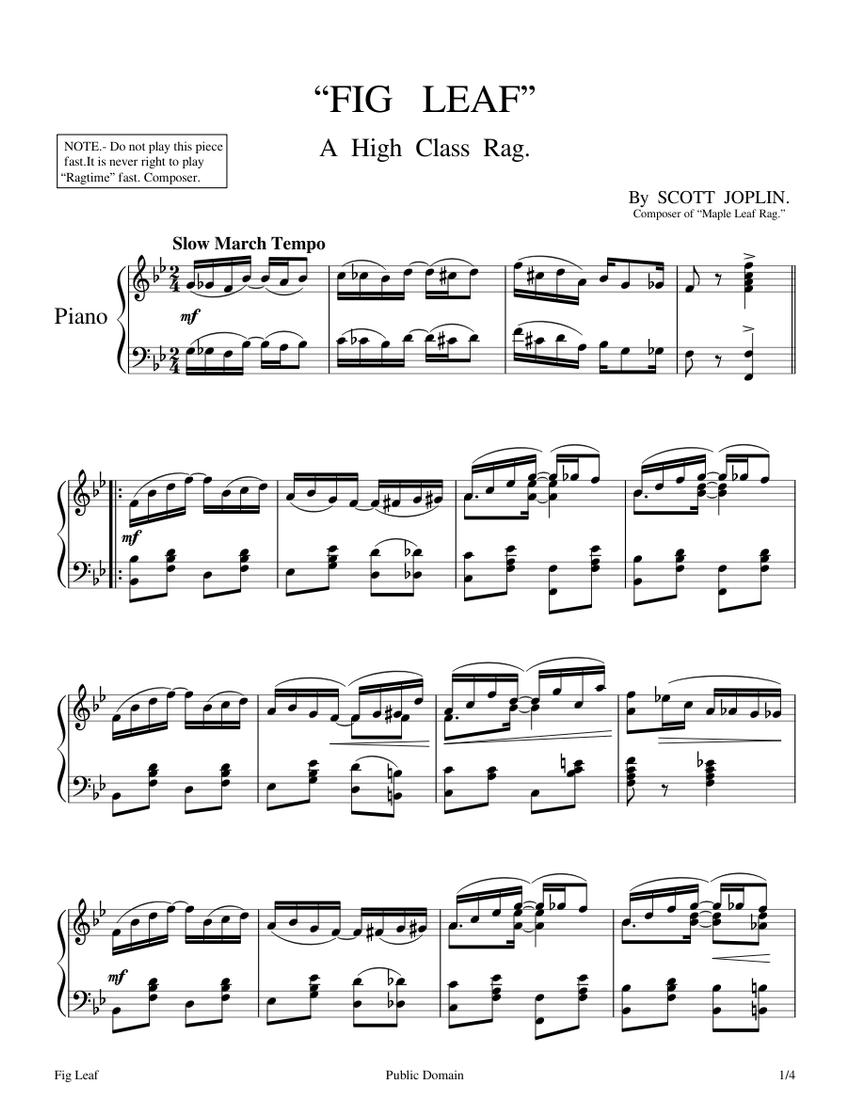 fig leaf rag - scott joplin - 1908 sheet music for piano (solo)    musescore.com  musescore.com